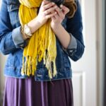 Stitch Fix denim jacket and plum dress with mustard scarf