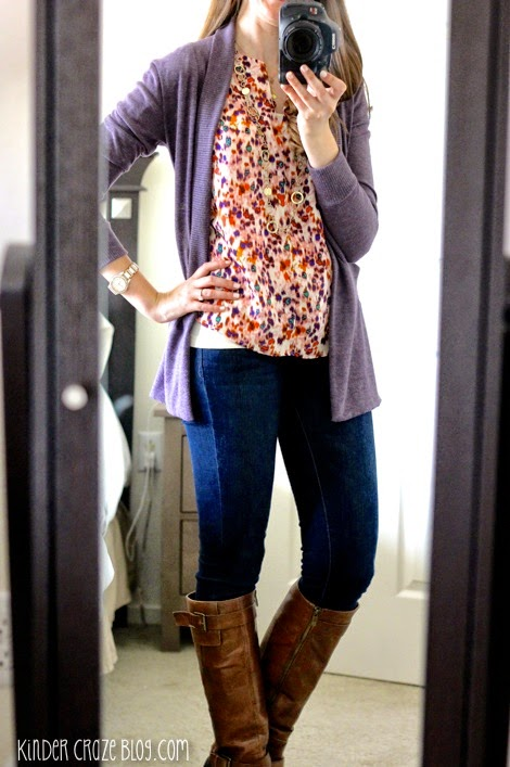 Cathleen Abstract Print Tulip Sleeve Blouse from Stitch Fix with skinny jeans, brown boots, and a plum cardigan
