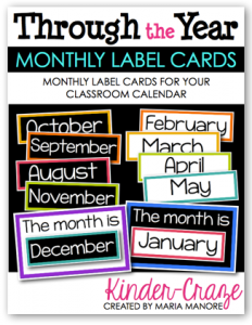 Through the Year monthly label cards from Kinder-Craze