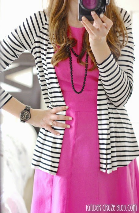 Clove twist back striped cardigan with a pink fit and flare dress from Stitch Fix #stitchfix