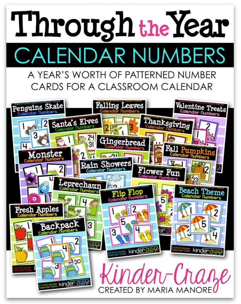 through the year calendar numbers