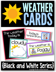Weather Cards for a classroom calendar
