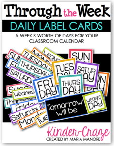 Through the Week Daily Label Cards from Kinder-Craze