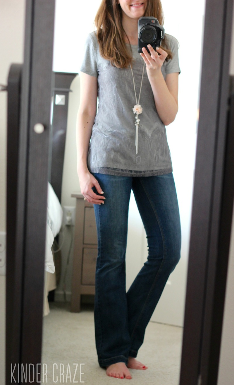 Memphis Lace Overlay Knit Shirt from Stitch Fix with Kensie bootcut jeans