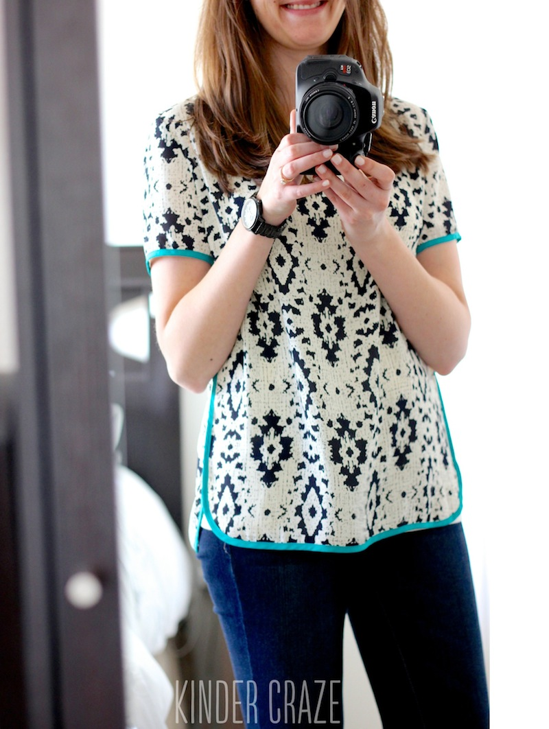 Rye Abstract Print Solid Trim Blouse from Stitch Fix