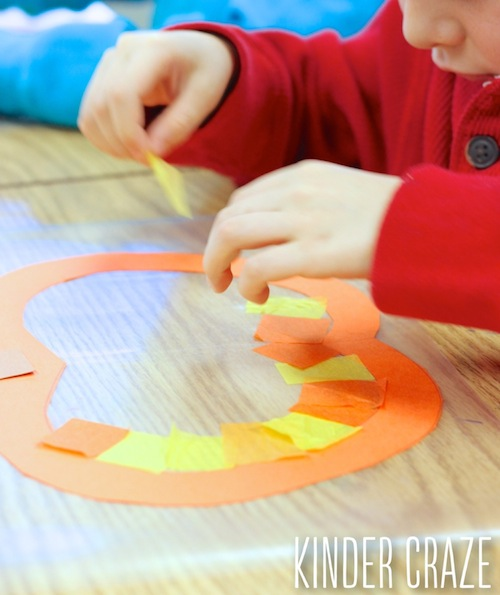 Pumpkin window decorations - easy and mess-free craft