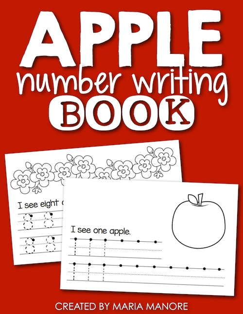 FREE apple book that helps students learn to write their numbers