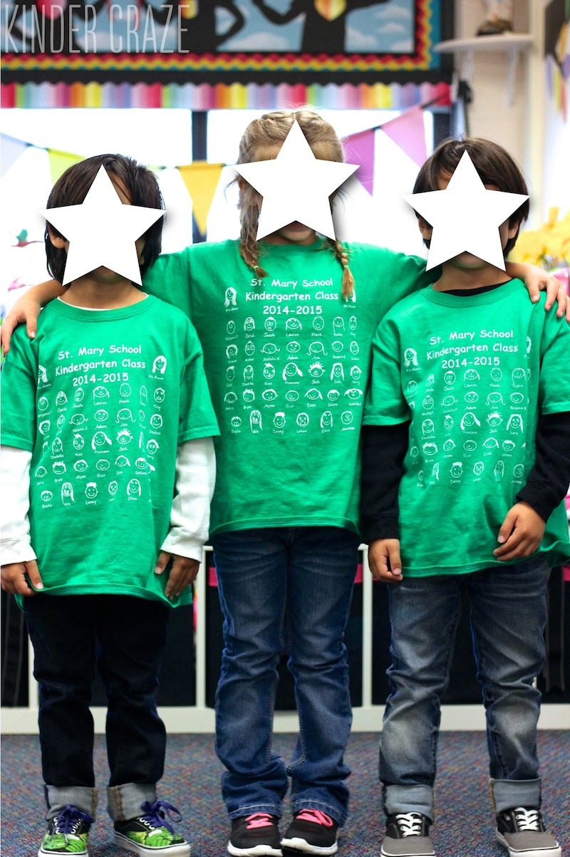 custom class t-shirts with self-portrait drawings of every child in the class