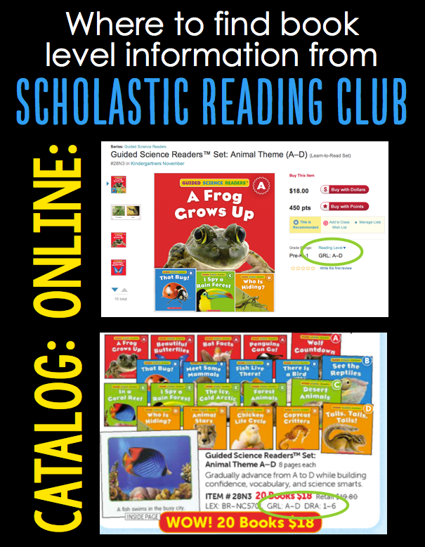 reading level information in Scholastic Reading Club
