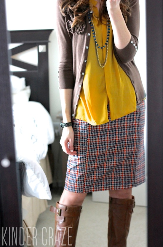 Emilia Plaid Print Pencil Skirt with Esten Button Up Sleeveless Blouse from Stitch Fix