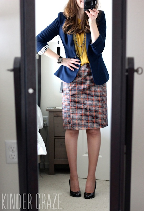 Emilia Plaid Print Pencil Skirt with Esten Button Up Sleeveless Blouse and Bensen 3/4 Ruched Sleeve Blazer from Stitch Fix