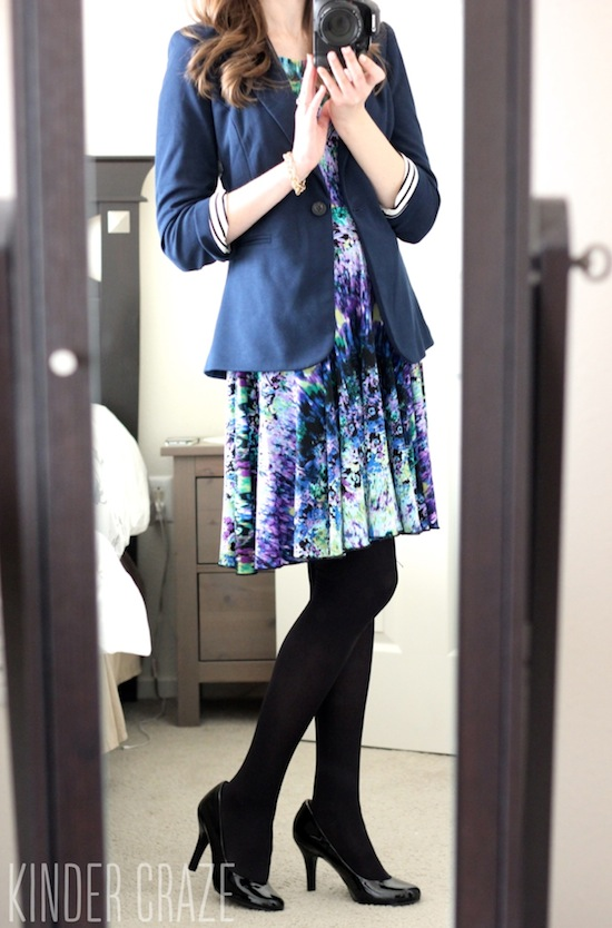 Bensen 3/4 Ruched Sleeve Blazer from Stitch Fix with abstract floral dress and black tights