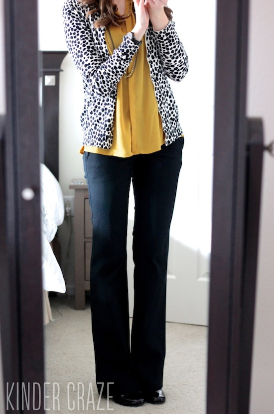 Eston Button-Up Sleeveless Blouse with leopard print cardigan and black dress pants