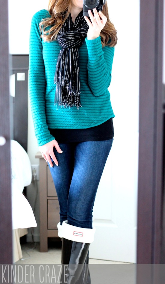 Dante Striped Boat Neck Knit Top from Stitch Fix with Kensie skinny jeans and hunter boots