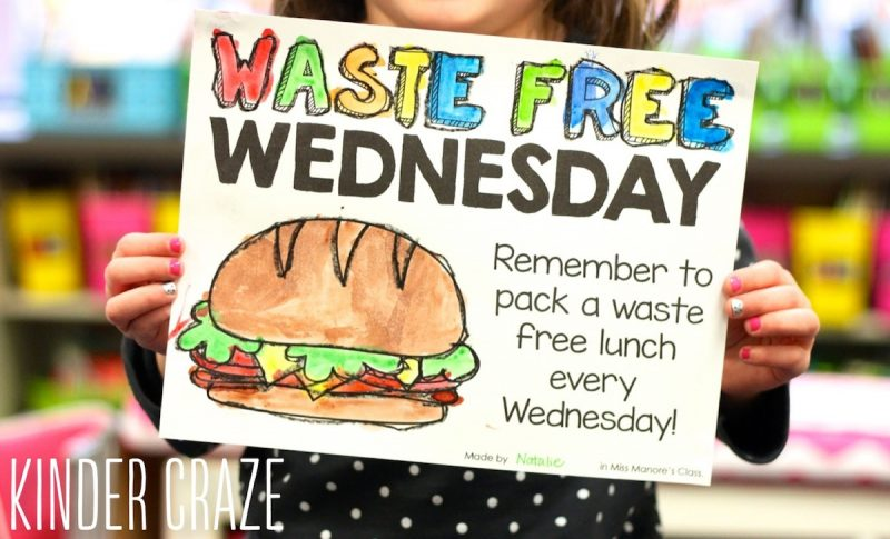 "Go green at your school. Invite students to bring a waste free lunch one day each week. Blog post includes a very cute downloadable ""Waste Free Wednesday"" poster"