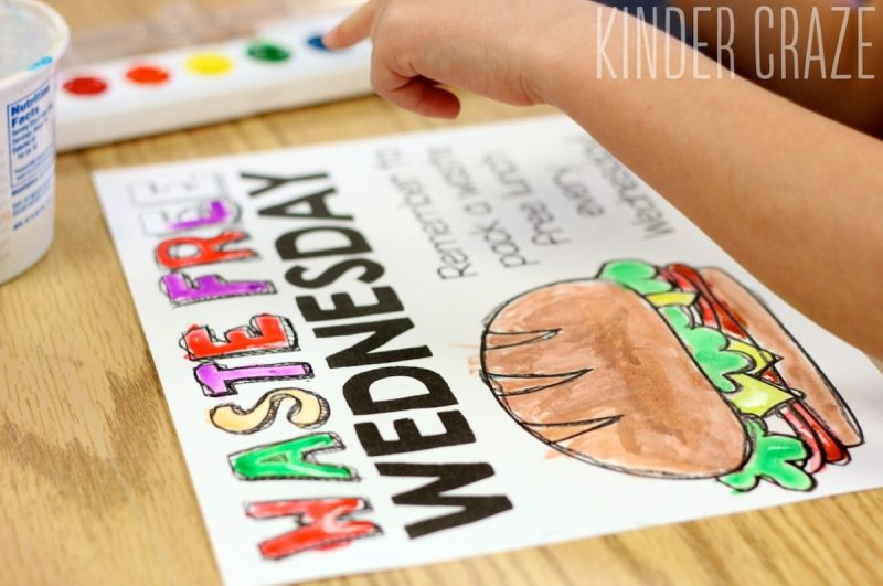 go green at school with waste free lunches and this adorable FREE poster to spread the word