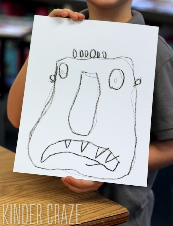 Big Green Monster inspired kindergarten drawing