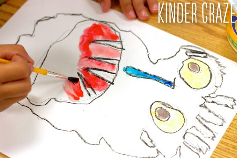 Big Green Monster inspired Kindergarten watercolor paintings