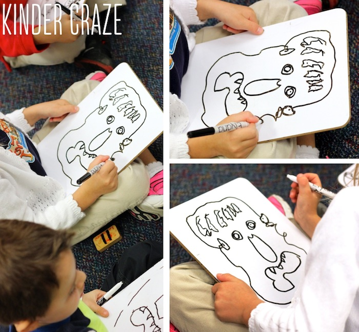 Big Green Monster kindergarten whiteboard drawings