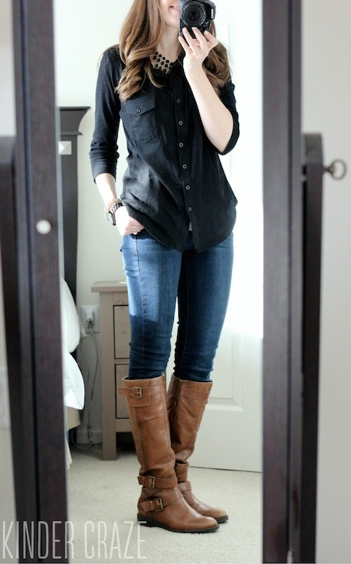 Jamie Button Down Cotton Shirt from Stitch Fix with Sophie skinny jeans fro Kensie, brown riding boots and a statement necklace #stitchfix #fashion
