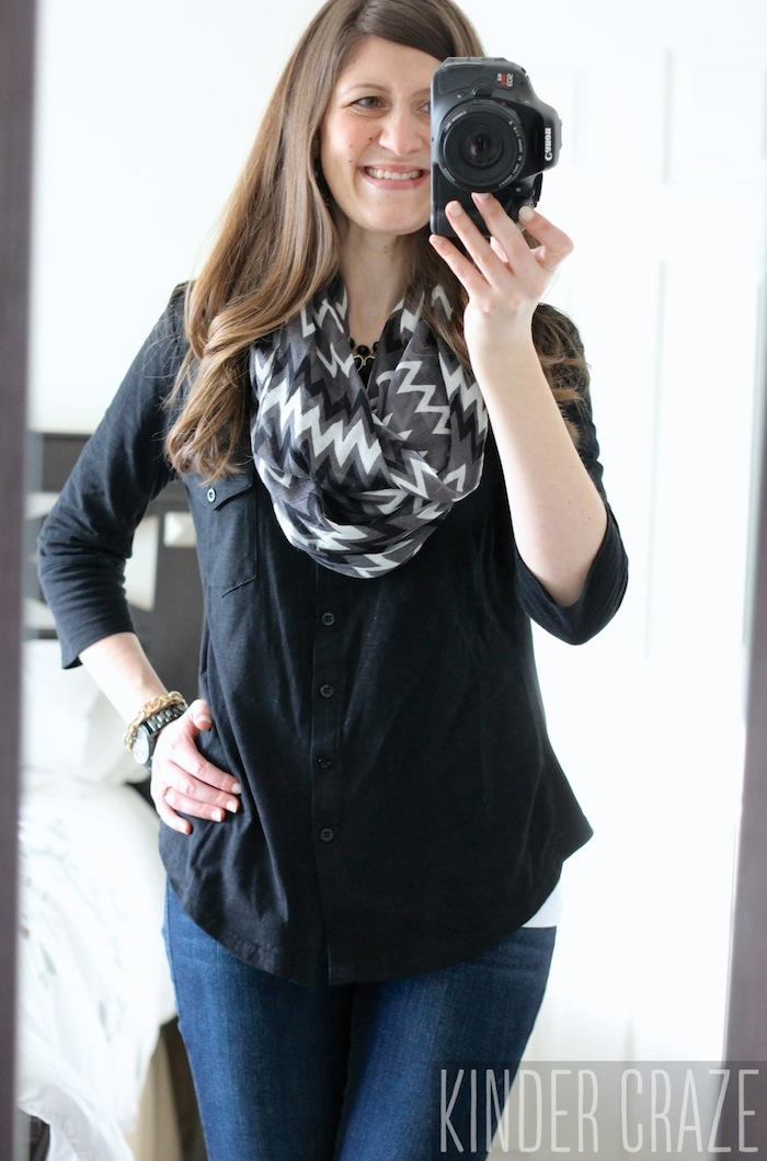 Jamie Button Down Cotton Shirt from Stitch Fix with skinny jeans and a gray chevron infinity scarf #stitchfix #fashion
