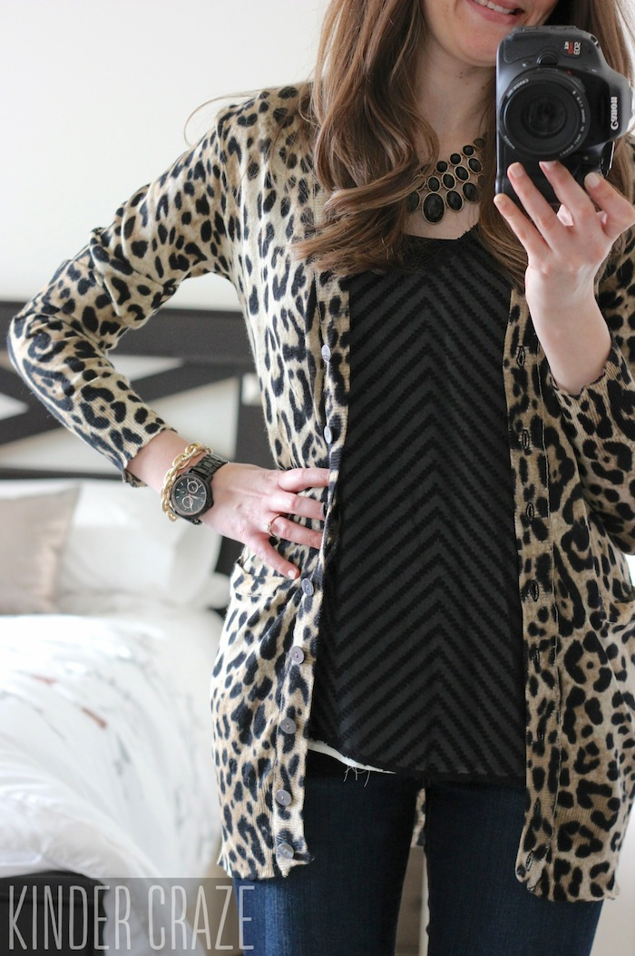 Davis Leopard Print Button-Up Cardigan from Stitch Fix with a Blaine Textured Chevron Print Blouse, skinny jeans and a black statement necklace #stitchfix #fashion
