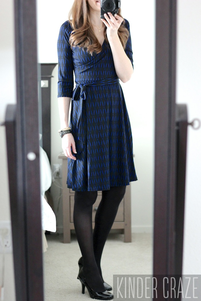 black and blue Renesme Geo Print Faux Wrap Dress from Stitch Fix #stitchfix #fashion