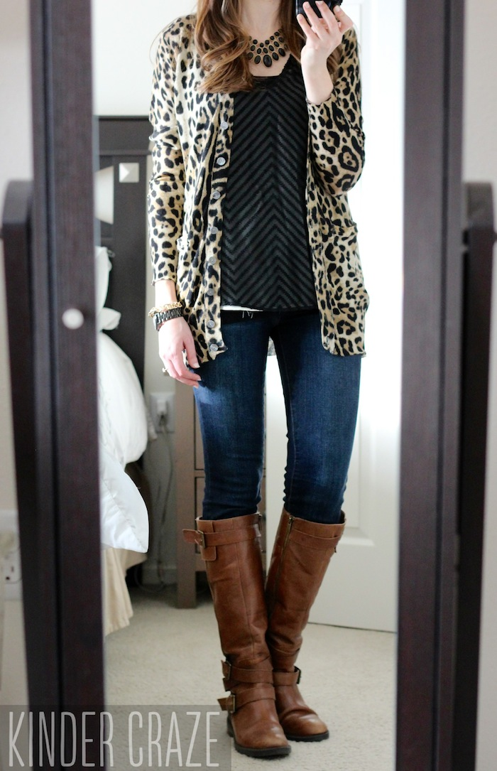 Davis Leopard Print Button-Up Cardigan from Stitch Fix with a Blaine Textured Chevron Print Blouse, skinny jeans and brown riding boots #stitchfix #fashion