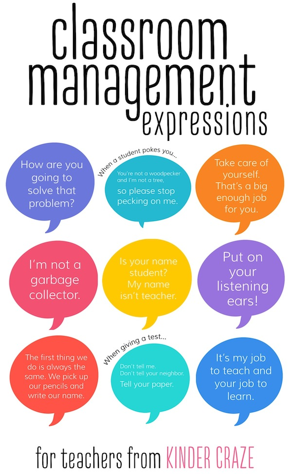 classroom management expressions for teachers from Kinder Craze
