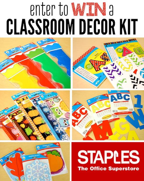 Enter to WIn a $75 Classroom Decor Kit from Staples!