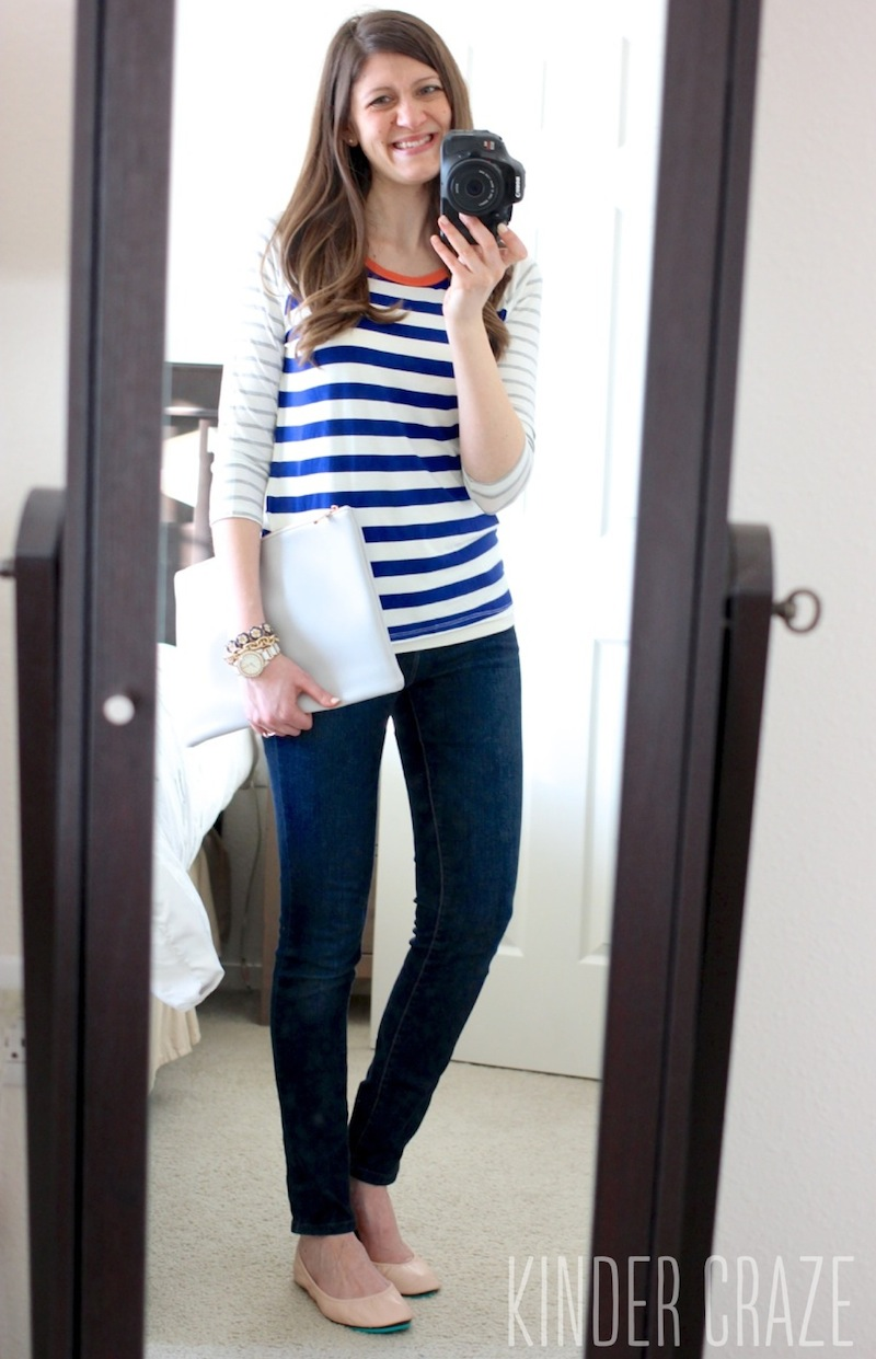 Olive & Oak Mulliken Raglan Striped Knit Shirt with Kensie skinny jeans from Stitch Fix, Paloma leather clutch from Popbasic and ballerina pink Tieks
