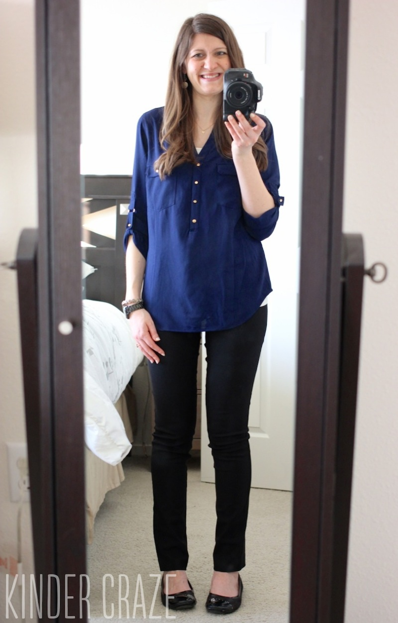 Skies are Blue Haldis Roll-Tab Henley Blouse with Emer High Waisted Trouser Pant from Stitch Fix