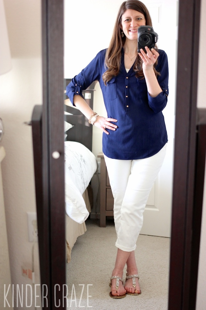 Skies are Blue Haldis Roll-Tab Henley Blouse from Stitch Fix