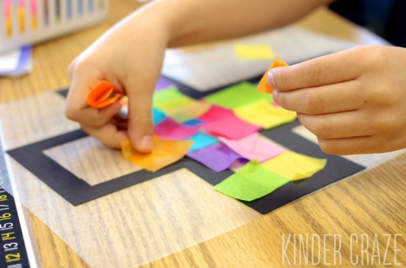 """tutorial to create """"stained glass"""" tissue paper crosses"""