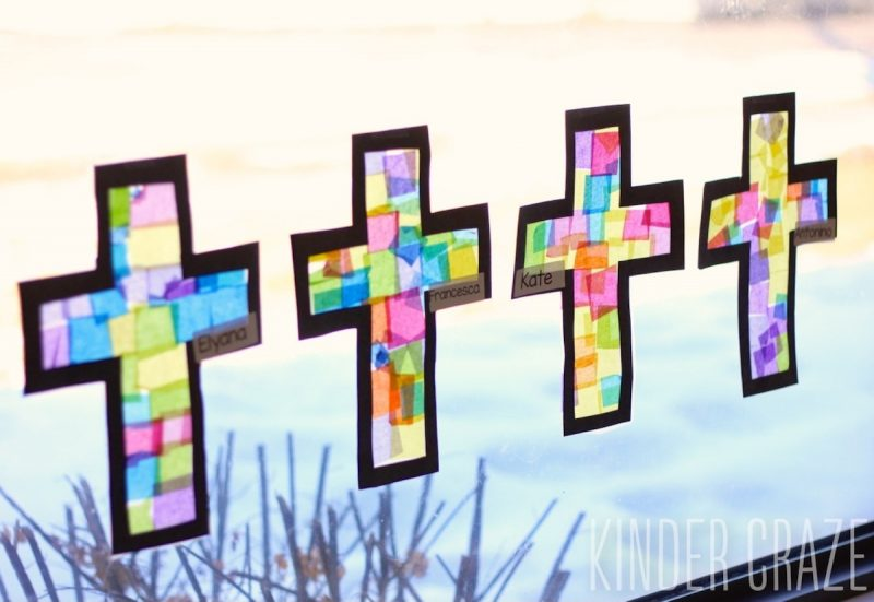 Cross template simple cross image craft ideas pinterest crosses - Tutorial To Create Stained Glass Tissue Paper Crosses