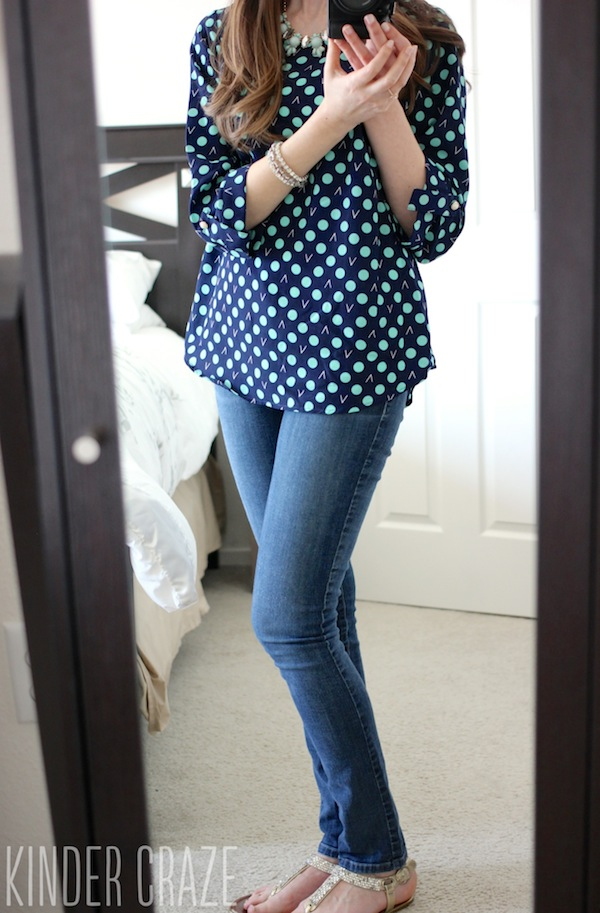 ixby Dot Print 3/4 Tab Sleeve Blouse from Stitch Fix #stitchfix
