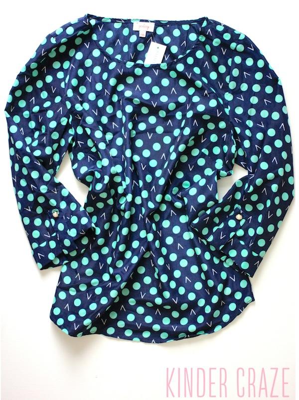 ixby Dot Print 3/4 Tab Sleeve Blouse from Stitch Fix #stitchfix