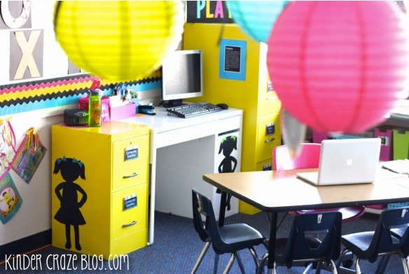 bright yellow spray painted file cabinets in a kindergarten classroom