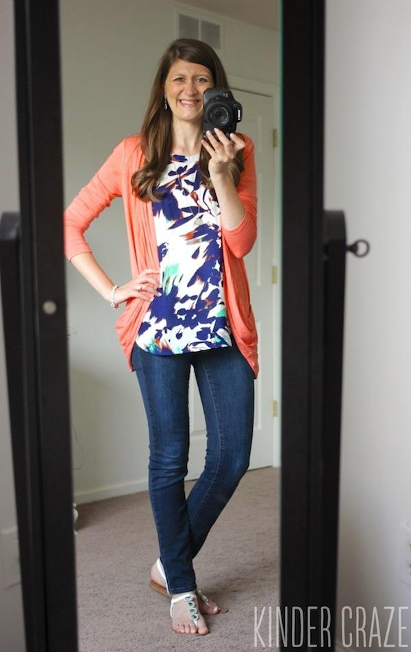 Martina Slub Knit Open Cardigan from Pixley and Daniel Rainn Deena Crochet Back Blouse with Kensie Sophia skinny jeans from Stitch Fix - June 2015 Stitch Fix Review #stitchfix #fashion