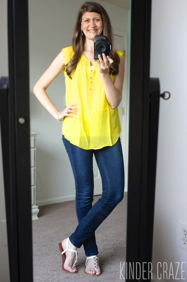 yellow Daniel Rainn Sicily Pintuck Detail Silk blouse with Kensie brand Sophia skinny jeans - June 2015 Stitch Fix Review #stitchfix #fashion