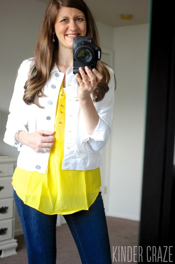 yellow Daniel Rainn Sicily Pintuck Detail Silk blouse and Callie White Denim Jacket from Kut From the Kloth with Kensie brand Sophia skinny jeans - June 2015 Stitch Fix Review #stitchfix #fashion