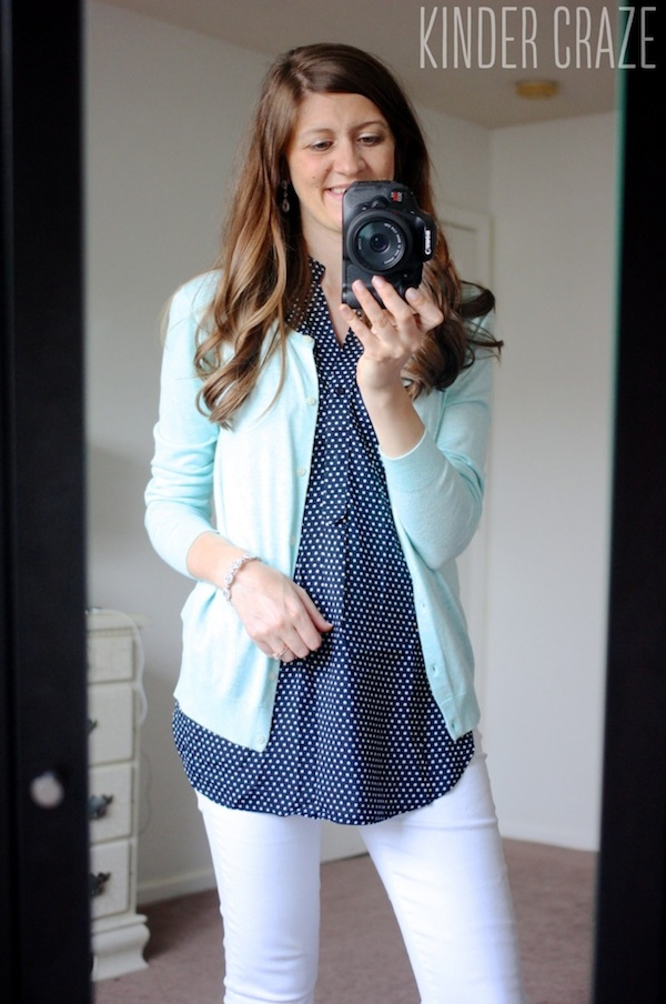 Colibri Sleeveless Top from Market & Spruce with white denim capri pants and a mint cardigan - June 2015 Stitch Fix Review #stitchfix #fashion