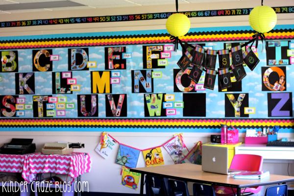 brightly colored kindergarten alphabet word wall
