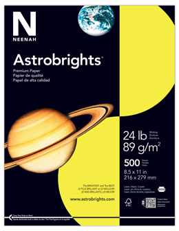 Astrobrights Lift Off Lemon paper