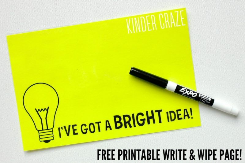 FREE write & wipe printable that you can laminate and turn into a dry-erase surface