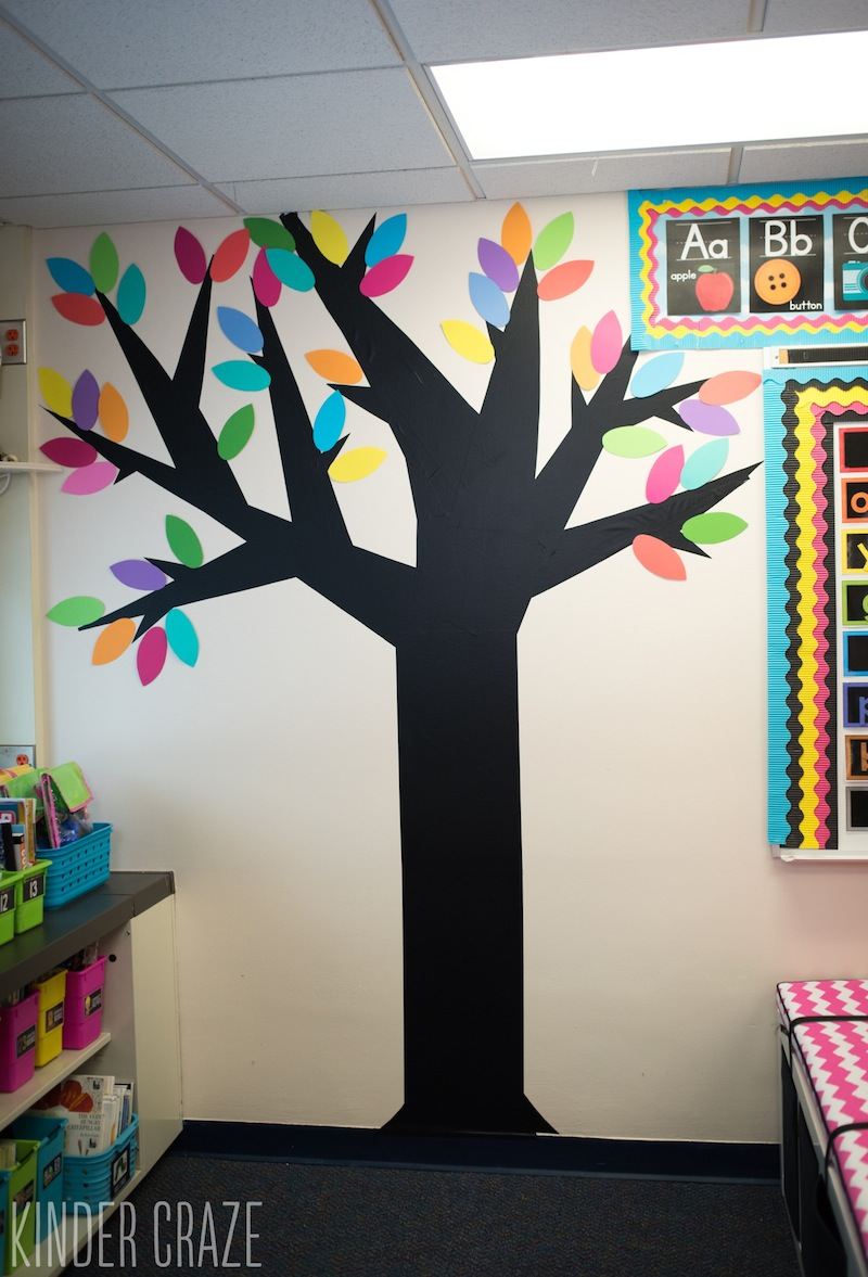 Video tutorial decorative vinyl trees for the classroom for Classroom wall mural ideas