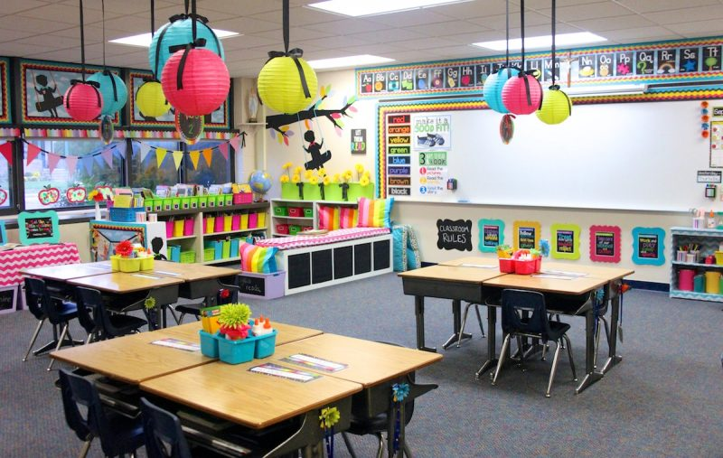 Colorize your classroom with an astrobrights diy paper chain for Art classroom decoration ideas