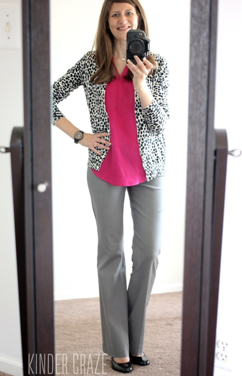 uchsia Walden V-Neck Blouse from Fun2Fun with gray pants and a cheetah print cardigan - Stitch Fix