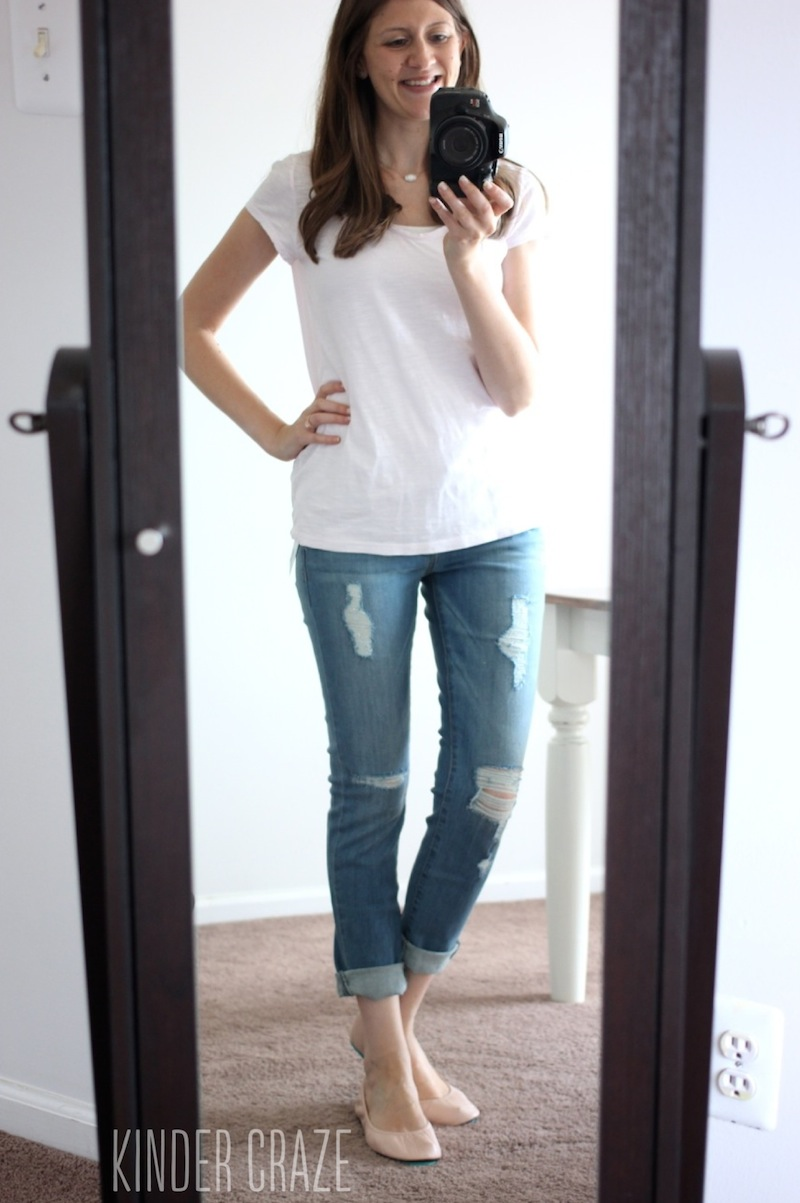 Stitch Fix Lauri Distressed Boyfriend Jean from Just Black with Ballerina Pink Tieks