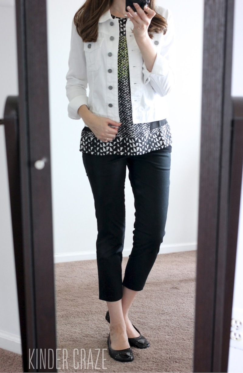 black Siena Cropped Pant and Callie White Denim Jacket from Kut From the Kloth - Stitch Fix